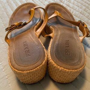 Prada wedge flip flop yellow leather 10